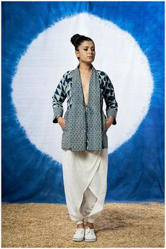 Natural Indigo Hand Block Printed Cotton Summer jacket by FAYAKUN Coni Hörler Photography