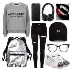 """""""🙏🏻😝"""" by fulla20o0 ❤ liked on Polyvore featuring Burberry, River Island, adidas Originals, STELLA McCARTNEY and New Black"""