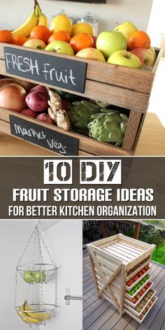 kitchen Organization Fruit - 10 DIY Fruit Storage Ideas for Better Kitchen Organization. Cheap Storage, Diy Storage, Storage Ideas, Storage Organizers, Small Kitchen Organization, Kitchen Storage, Diy Organization, Fruit Storage, Food Storage