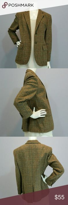 Ralph Lauren 100% Wool Plaid Blazer Sz 10P This is a fully lined Ralph Lauren Wool Plaid Blazer. It has a notched lapel, with a 2 Button Front (they are beautiful buttons each with a Horse's head on them.) There are 2 Flap Pockets in front as well as a welt pocket on the left chest. The 4 buttons cuffs and a single vent in the back finish the Blazer details. Happy to provide measurements/info/pics as needed.  Sz 10P, Perfect Condition from a smoke free home. Ralph Lauren Jackets & Coats…