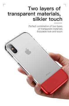 Baseus Protective Case For iPhone XS Hybrid Color Transparent Fingerprint Resistant Back Cover Pc Cases, Iphone Cases, Modelos Iphone, Silky Touch, Iphone Models, Pouch Bag, Knock Knock, Protective Cases, Apple