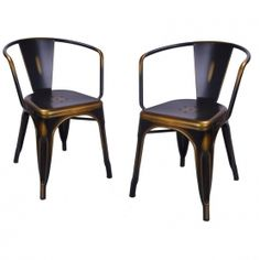 Adeco Antique Copper Metal Stacking Dining Chairs - CH0157-3 | adecotrading.com