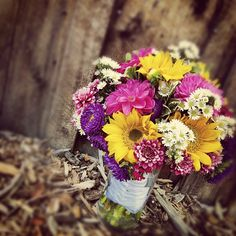 Adriana's Bouquet // Sunflowers, Dianthus, Dahlias, and a collection of Asters!  #Breckenridge #wedding #flowers #florist #bride #bouquet #rockymountains #colorado #SummitCounty #sumco