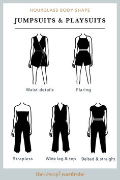the concept wardrobe | A selection of great jumpsuit and playsuit styles for the hourglass body shape. Belted and form-fitting styles work best for this body shape.