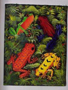 """This canvas measures about 17.5"""" x 23"""". The poison Dart frogs and the golden frog are all present in Panama...for now. I bought a handful of these paintings f"""