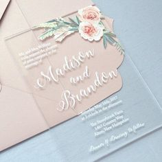 MADISON ♥ This invitation can be customized to match the colors of your event. Please ask for more details and available color options. FEATURED COLORS ~ White Ink and Color Printing on Clear Acrylic ~ Thick Card Stock Envelope in Pink Blush DIMENSIONS = 5 x 7 PROCESSING TIME=