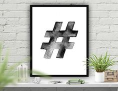 "Printable Art Print, Wall Poster ""Hashtag"",Office Decor, Home Decor, Instant Download Printable Art, Typography Poster ""Hashtag Sign"""