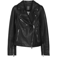 Lot78 Leather biker jacket (1.135.525 COP) ❤ liked on Polyvore