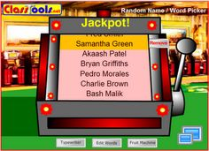 Foxhole's Classroom: Random Name Picker: Save those popsicle sticks for craft time and use a slot machine instead! Classroom Organisation, School Organization, Classroom Management, Class Management, Behavior Management, Smart Board Activities, Smart Board Lessons, Music Classroom, School Classroom
