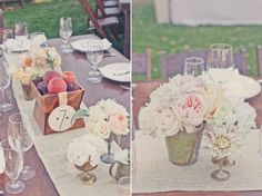 Peaches + mercury glass + cabbage roses = our reception decor. (not pictured: burlap and lace)