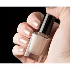 Shimmering champagne gold nude holographic nail polish (13 CAD) ❤ liked on Polyvore featuring beauty products, nail care, nail polish and nails