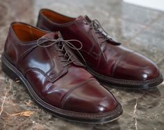 For your consideration a lightly worn pair of Alden cap toe bluchers built for 14 oz Berlin. Built on a double leather outsole with with 360 storm welt, dark edge trim, and tonal welt stitching. Made from high quality Horween burgundy eggplant color 8 shell cordovan. | eBay!