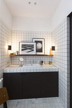 tile 3/4 up the wall To da loos: Bathrooms with white square tiles and dark grout lines