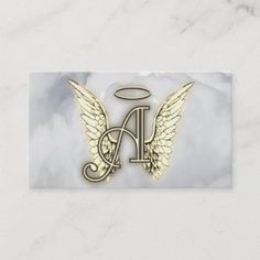 Business Card Size, Business Cards, Mom Tattoo Designs, Black Angel Wings, Old English Font, Quilling Designs, Mom Tattoos, Gold Letters, Monogram Initials