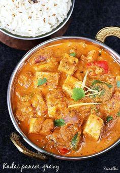 Kadai paneer gravy recipe - restaurant style kadhai paneer recipe with step by syep photos. It can be served with plain paratha, roti, jeera rice.