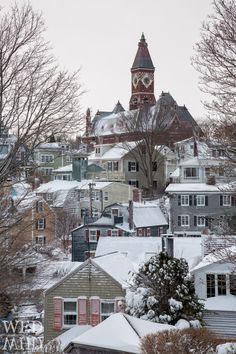 Abbot-Hall-in-Marblehead-MA- with centuries old houses in foreground. Many of them are old sea captain's homes. Wander the narrow streets.