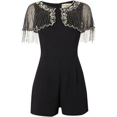 Lace and Beads Sleeveless Mesh Beaded Overlay Shoulder Playsuit (81 AUD) ❤ liked on Polyvore featuring jumpsuits, rompers, black, women, playsuit romper, black romper, sleeveless romper, sleeveless rompers and lace rompers