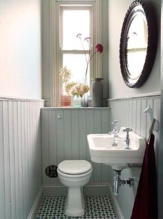 Small toilet room - Space Saving Toilet Design for Small Bathroom – Small toilet room Space Saving Toilet, Small Toilet Room, Small Toilet Decor, Cloakroom Toilet Small, Cloakroom Ideas Small, Toilet Room Decor, Cloakroom Sink, Tongue And Groove Panelling, Downstairs Cloakroom