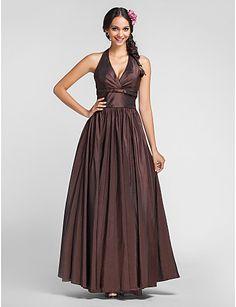 A-line Princess Halter Floor-length Taffeta Bridesmaid Dress