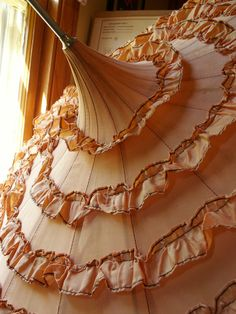 Vintage Ruffled Peach Umbrella with Faux Tortise Shell Handle. $86.00, via Etsy.