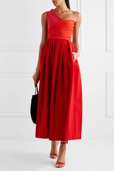 Preen by Thornton Bregazzi - April One-shoulder Cady Midi Dress - Tomato red