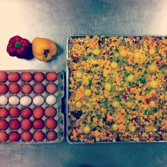 Tomorrows Breakfast at #Hopemission.  Eggs Bake. Ham, Cheddar, Hash-browns, Bread, Red Peppers, Milk, and Green Onion for 550!