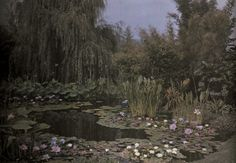 "moonandmoon: "" Undated autochrome of a water lily garden. Photograph by Franklin Price Knott, National Geographic """