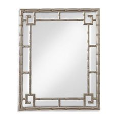 Mirrors - Beautiful wall mirror features a silver intricately molded frame with greek key corner accents.