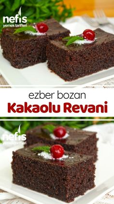 Revani with Cocoa (with video) – Yummy Recipes – Mary - Gesunde Rezepte Yummy Recipes, Yummy Food, Wie Macht Man, Turkish Recipes, Kakao, Cookie Desserts, Food Videos, Cocoa, Recipes