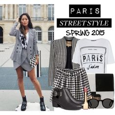 HOT TREND! How to: Wear Houndstooth Blazer! Spring 2015 by vallle on Polyvore featuring H&M, Louis Vuitton, Mykita, Clarins and houndstoothblazer
