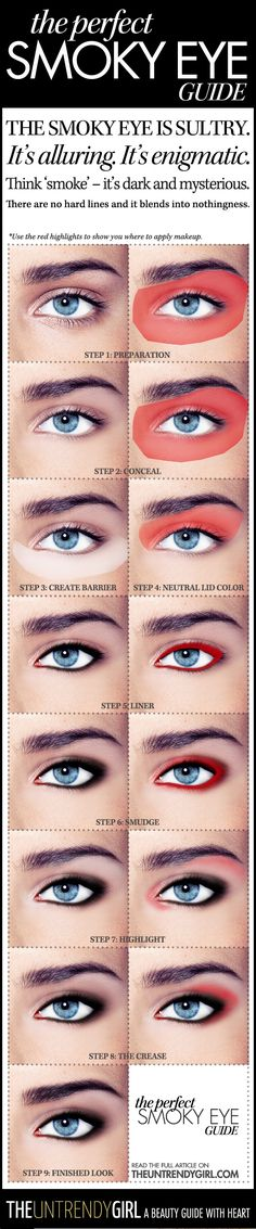 "How to get a perfect smoky eye.. Use the chart with ""RED""  to show how and where to apply correctly and the chart NOT WITH RED to see how professionally it's done"
