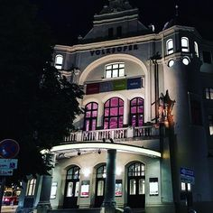 Volksoper at night, Bezirk, Vienna. Vienna Austria, Night, Architecture, Places, Instagram Posts, Life, Architecture Illustrations, Lugares