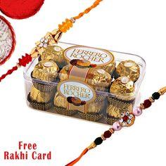 Rakhi With Rocher - Chocolates Hampers - Rakhi Hampers - Rakhi
