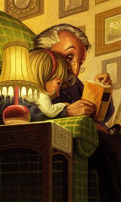 Grandpa, Illustration - reading fairytales perhaps? I Love Books, Books To Read, My Books, Reading Art, I Love Reading, World Of Books, Lectures, Book Nooks, Book Lovers