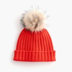 Ribbed beanie with faux-fur pom-pom : Women hats Cool Gifts For Women, Hats For Women, Vogue Kids, Hat Tip, Pom Pom Beanie Hat, Slouch Beanie, Beanie Hats, Faux Fur Pom Pom, Diy For Girls