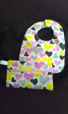Baby Bib & Zipper Pouch by CreativeGiftBoutique on Etsy, $15.00