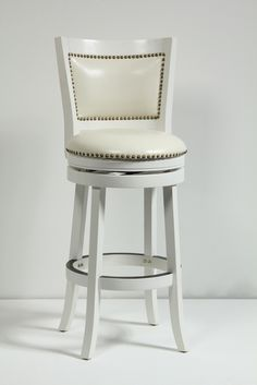 """Boraam Bristol 29"""" Swivel Stool in White 42429 - Boraam Bristol 29"""" Swivel Stool in White 42429Upgrade the look of your home with the elegant Bristol swivel stool. Together, the sleek frame and lustrous white finish combine with the embellished upholstery to manifest the perfect blend of style. The Bristol is composed of solid hardwood and engineered to perfection. Each leg has a strategic flare design that provides durability and balance to those who sit. The high-density foam used for the"""
