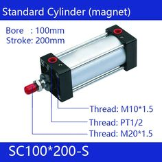 102.40$  Watch now - http://alijac.worldwells.pw/go.php?t=32793200020 - SC100*200-S Free shipping Standard air cylinders valve 100mm bore 200mm stroke single rod double acting pneumatic cylinder