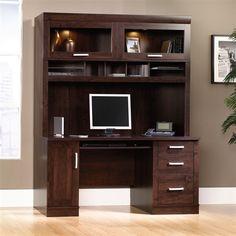 """Modern 59"""" Desk with Hutch with Glass Doors in Dark Alder"""