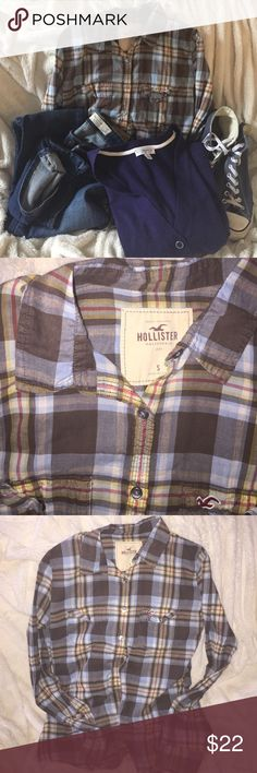 Hollister S plaid flannel button down top Flannel top by Hollister w shades of blues, gray/brown, yellow and pink!  Great top to layer or wear over a fav t with chucks and skinnies! Hollister Tops Button Down Shirts