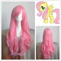 My Little Pony Rainbow Fluttershy Louise Cosplay Wig Long Wavy Curly Pink Hair Black Cosplay Wig, Cosplay Wigs, Princess Bubblegum Cosplay, New My Little Pony, Anime Wigs, Wigs For Sale, Womens Wigs, Fluttershy, Mlp