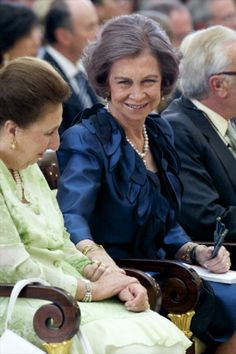 Queen Sofia of Spain (C) and Infanta Margarita de Borbon (L) attend closing ceremony of academic year of 'Escuela Superior de Musica Reina Sofia' at Royal Palace of El Pardo, 12.06.2014 in Madrid, Spain.