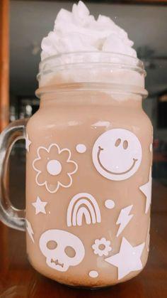 Mason Jar Gifts, Mason Jars, Iced Coffee, Coffee Cups, Starbucks Art, Custom Cups, Flower Skull, Etsy Business, Cup Design