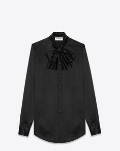 LAVALIERE SHIRT IN BLACK SILK  $ 1,190.00 LONG SLEEVE BUTTON FRONT SHIRT WITH TIE-FRONT LAVALIERE COLLAR. 100% SILK SINGLE BUTTON MITERED CUFF DOUBLE PLEAT ON SLEEVE PLACKET STYLE ID 437582Y069N1000 MADE IN ITALY