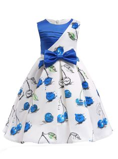 Girls dress Roupas infantis menina 2018 New Princess dresses Vestidos Kids clothes Robe mariage fille Summer party dress.In Stock:Ship in 48 Hours Blue White Cherry Print Flower Girl Dress - Kids' ClothingFlower Girl Dresses A Line Royal Blue Print Toddler Flower Girl Dresses, Baby Girl Dress Patterns, Girls Party Dress, Little Girl Dresses, Girls Dresses, Party Dresses, Birthday Dresses, Pageant Dresses, Baby Frocks Designs