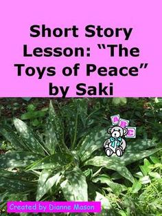 """$2.00 This is a lesson on satire using the short story """"The Toys of Peace"""" by Saki (H. H. Munro). The package includes a discussion of satire with helpful links, background on the author and the time period, questions for analyzing the story, vocabulary lists, a suggested activity for creating satires, and essay prompts."""