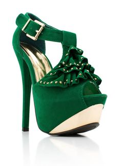 studded ruffle platform heels