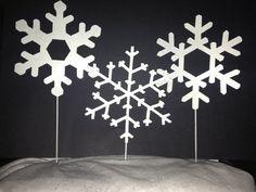 Set of 3 Snowflake Yard Stakes Yard by CoastalIronCrafts on Etsy