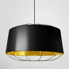 Lanterna - duża czerń i złoto - designerska lampa sufitowa wisząca - large black & gold - design pendant lamp