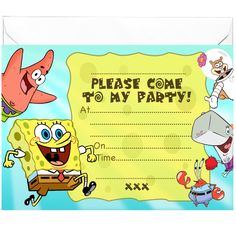 20 x Party Invitations inspired by Bob Sponge